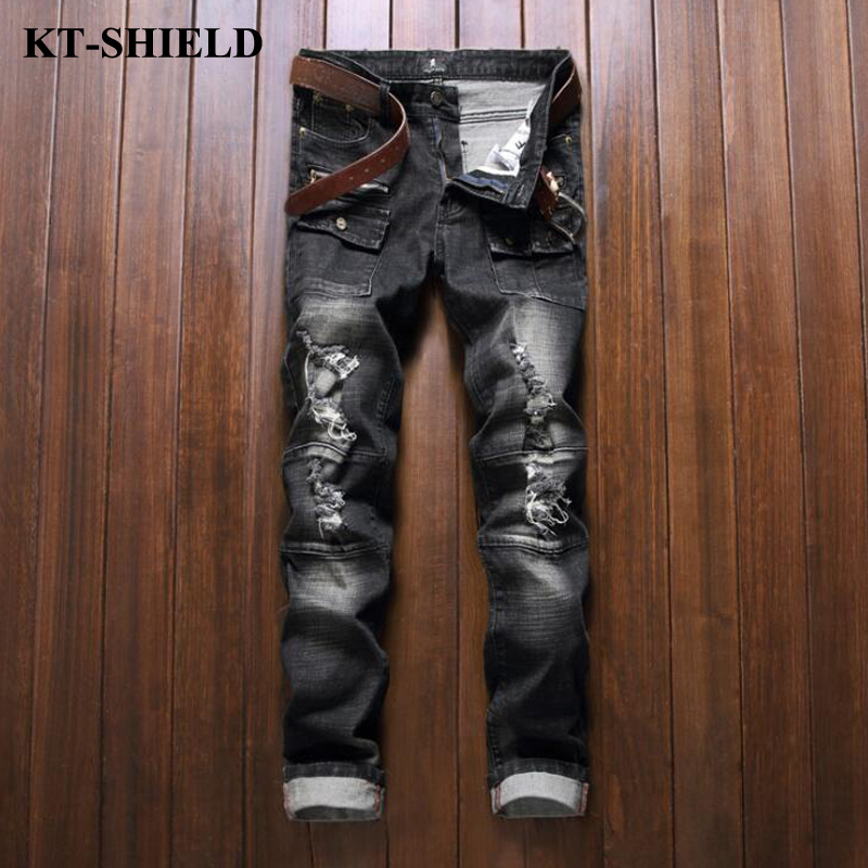 ripped jeans men new arrival black denim pants brand fashion mens biker distressed jeans trousers cotton