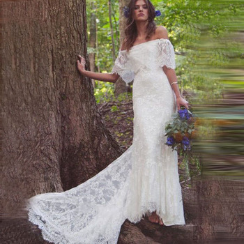LORIE Lace Wedding Dresses Off the Shoulder Sexy Custom Made Ivory Mermaid Short Sleeve Beach Bridal Gowns 2019 Free Shipping