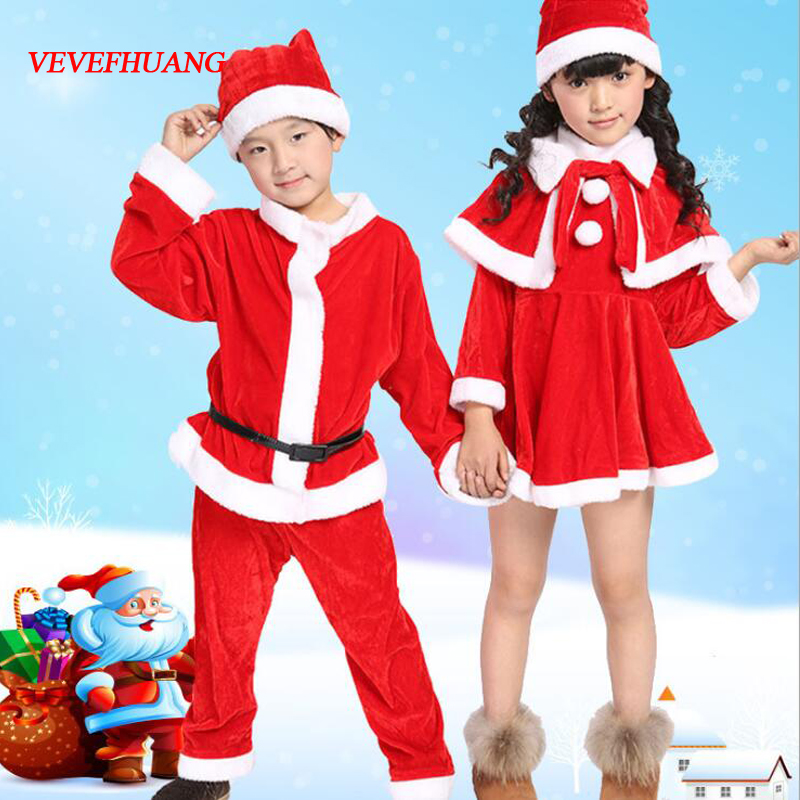 VEVEFHUANG Unisex Kids Boys Girls Red Santa Claus Costume Christmas Party Gift Giver Cosplay Clothes Cape Dress Hats