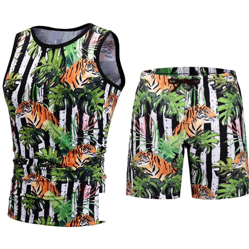 Men Summer Swimming Shorts Sweatpants Board Shorts 2019 Hawaii Graffiti Printed Beach Shorts Elastic Waist Casual Short Men Elegant Shape Board Shorts