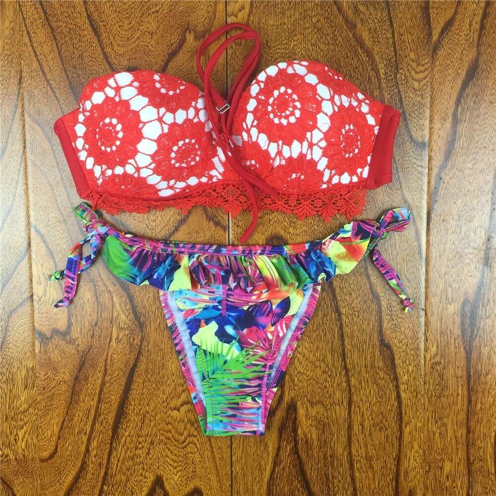 18 Summer Style Floral Print Women Bikinis Set Crochet Lace Swimsuit Strapless Push Up Bandeau Biquinis Beachwear Bathing Suit 11