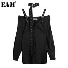 [EAM] 2019 New Autumn Winter V-collar Long Sleeve Black Loose Bandage Fold Split Joint Shirt Women Blouse Fashion Tide JL743