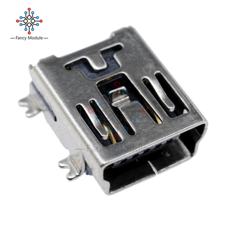 20PCS Mini USB SMD 5 Pin Female Mini B Socket Connector Plug diy mini usb 5 pin female 180 degree dip socket connector silver 10 piece pack