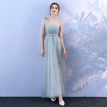 Grey Colour Bridesmaid Dress Korean Version Long Style One-shoulder Mesh  Dress  Banquet Wedding Party grey one shoulder long sleeves midi dress