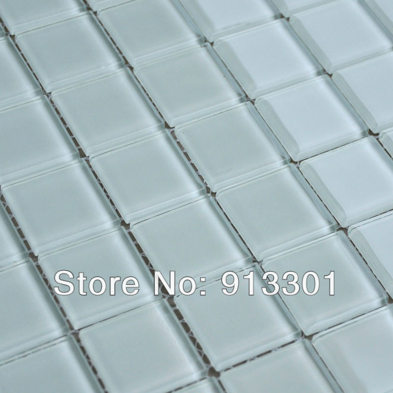 Crystal Glass Tile Sheets Light Grey Pattern Mosaic Tiles Glass