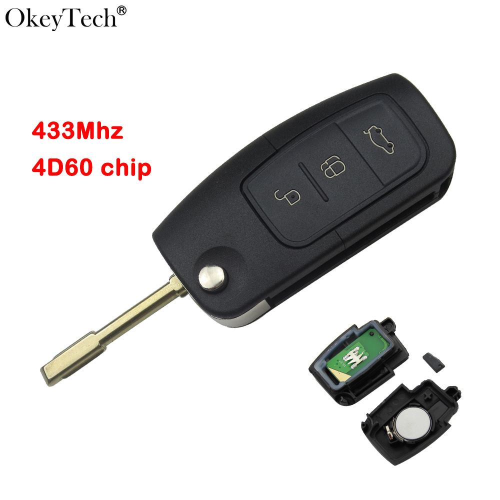 Okeytech Remote Flip Car Key New 3 Button 433Mhz 4D60 Transponder Chip For Ford Focus Mondeo Festiva Fusion