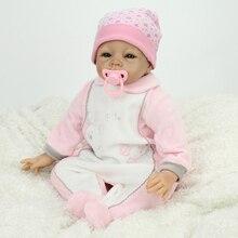 22″ Vinyl Reborn Newborn Baby Girl Doll Real Life Stuffed Body Fake Infant Women Treats Nursery Training