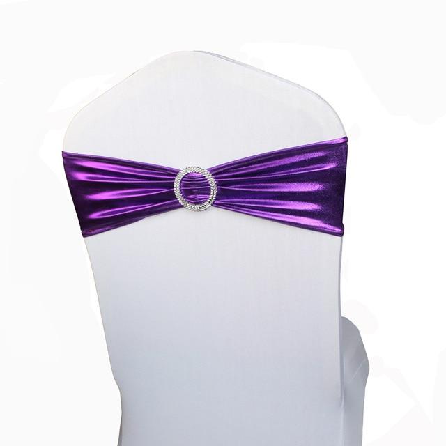 100pcs Purple Chair Sashes Spandex Lycra Elastic Stretch Metallic Cover Sash Bands Wedding Party Banquet