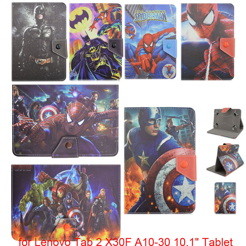 The Avengers Batman Spiderman Captain America Folio Stand PU Leather Cover Case Funda for Lenovo Tab 2 X30F A10-30 10.1 Tablet build a bear workshop captain america teddy bear in captain america costume