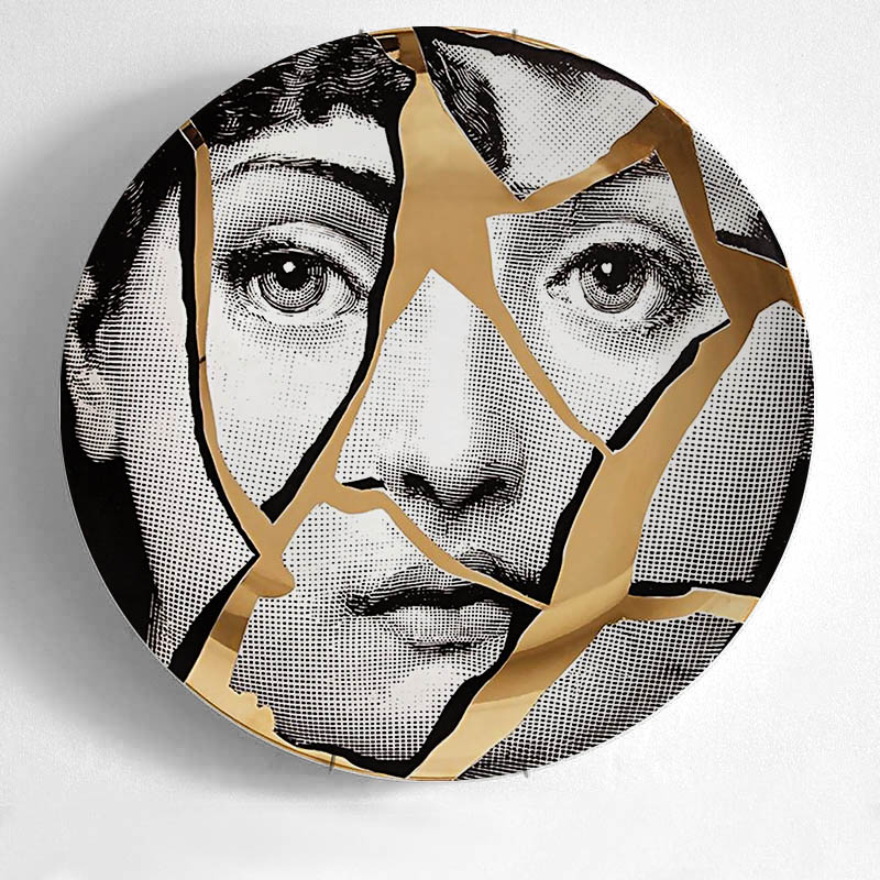 New European MILAN Style Gorgeous Rare Fornasetti Plates Lina Lightbulb Face Piero Fornasetti Wall Hanging Decorative 8 Inch
