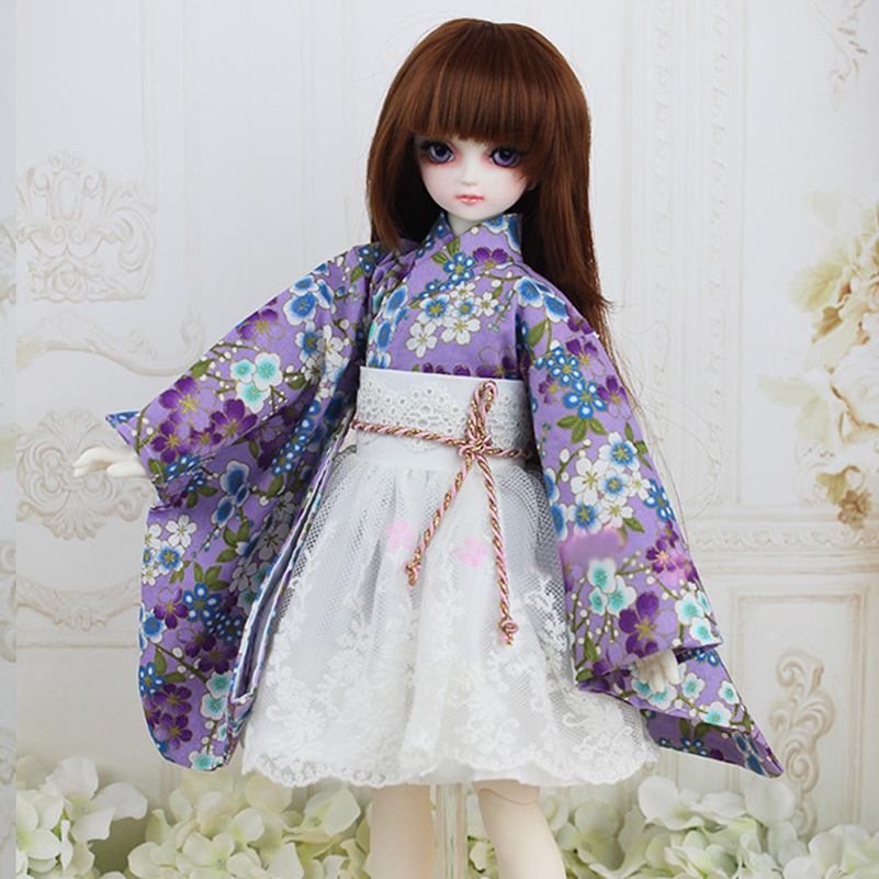 Doll Clothes Kimono Dress Clothing Toy Dress 1/3 1/4 1/6 White Skirt Kimono Dress Unicorn Butterfly Bathrobe Doll Accessories