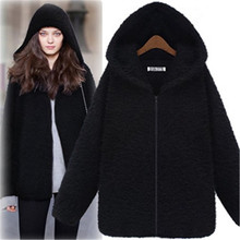 UK Big Plus Size 6XL 2016 New Autumn Winter Women Casual Long Sleeve Warm Hoodie Down Warm Outerwear Cardigan Jacket Coat