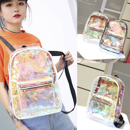 2019 Fashion Girls Clear Backpack Transparent Jelly Candy Shoulders Laser PVC Bag School Bookbag