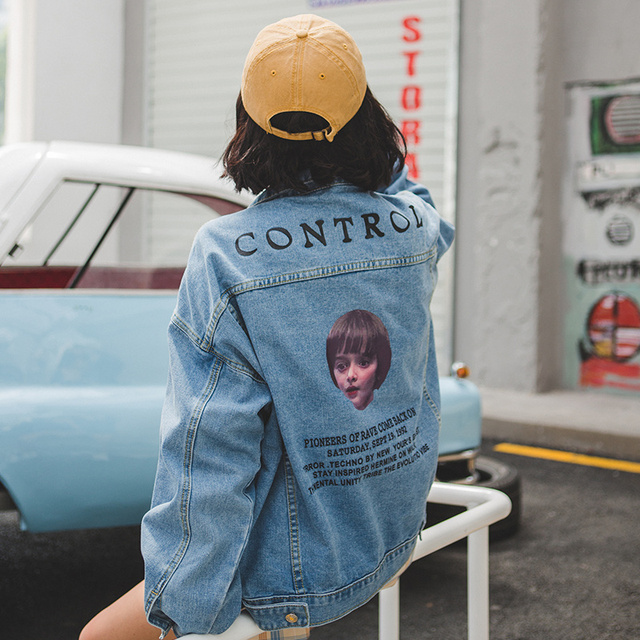 eaf024c1217b Real shot flavor oversize Harajuku wind wash old loose jeans clothing  printed denim jacket female spring 1853