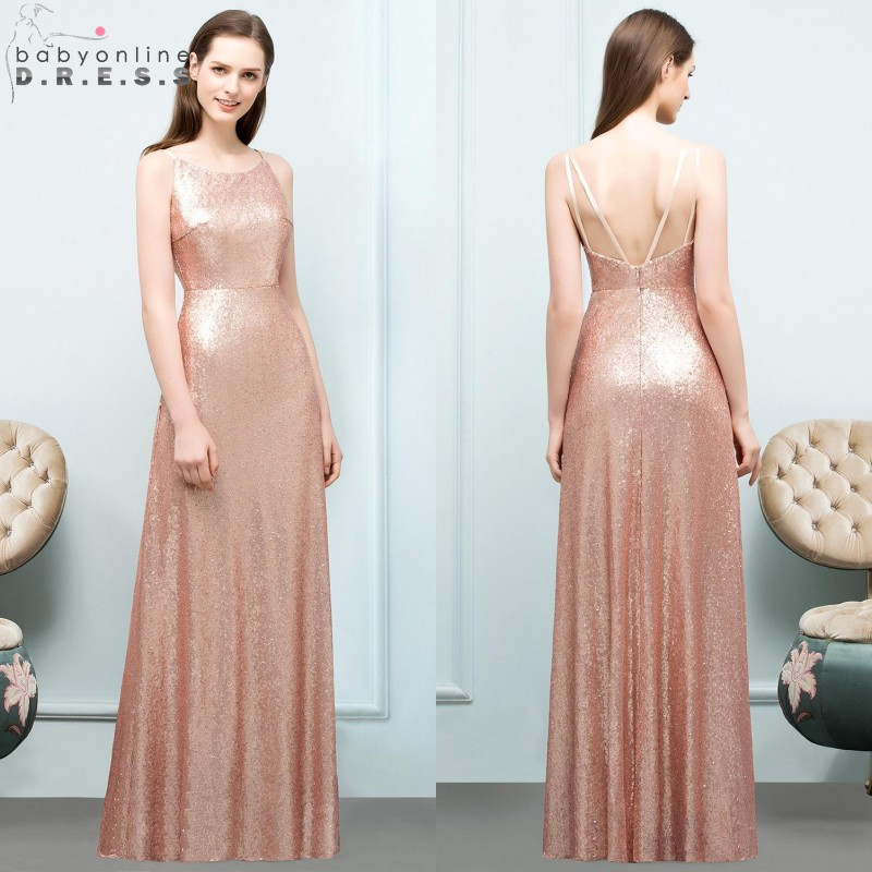 Sexy Backless Sequin Long   Evening     Dress   2019 Rose Gold Spaghetti Straps   Evening   Gowns Reflective   Dress   Robe De Soiree