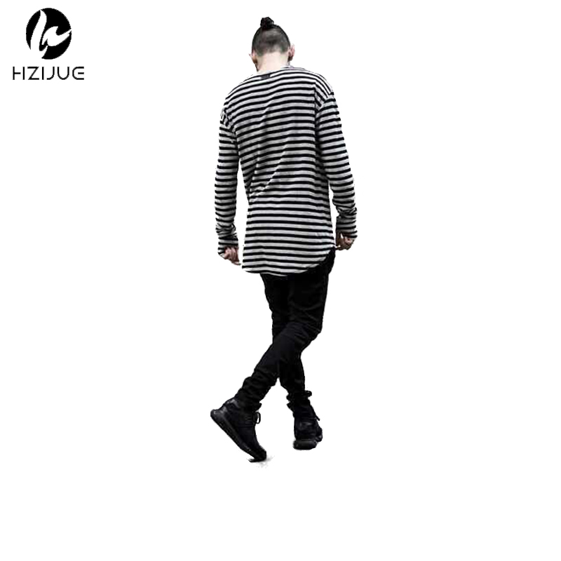 Swag HZIJUE pria t shirt lengan panjang mens t shirt mode striped cotton melengkung hem bottoming nyaman hiphop t shirt pakaian