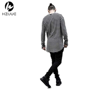 HZIJUE men t shirt long sleeve swag mens t shirts fashion striped cotton curved hem bottoming comfortable hiphop t shirt clothes