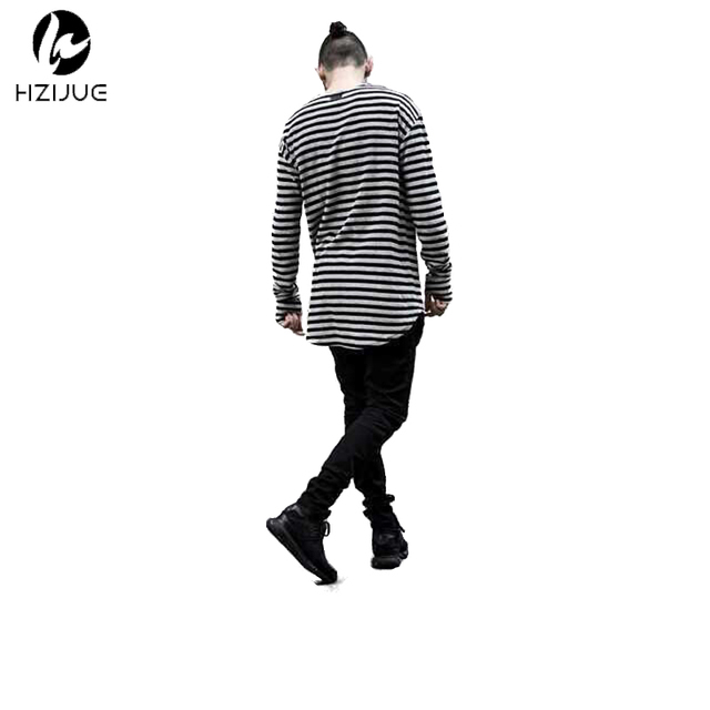 4035aa85c4e HZIJUE men t shirt long sleeve swag mens t shirts fashion striped cotton  curved hem bottoming comfortable hiphop t shirt clothes