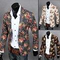 Envío de la nueva 2015 primavera fshion estampado floral slim fit chaqueta de lino hombres un botón traje chaqueta casual para hombres/XF9