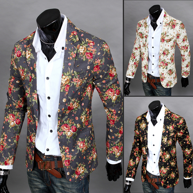 O envio gratuito de nova primavera 2015 fshion floral impressão slim fit homens blazer de linho um botão terno jaqueta casual para homens/XF9