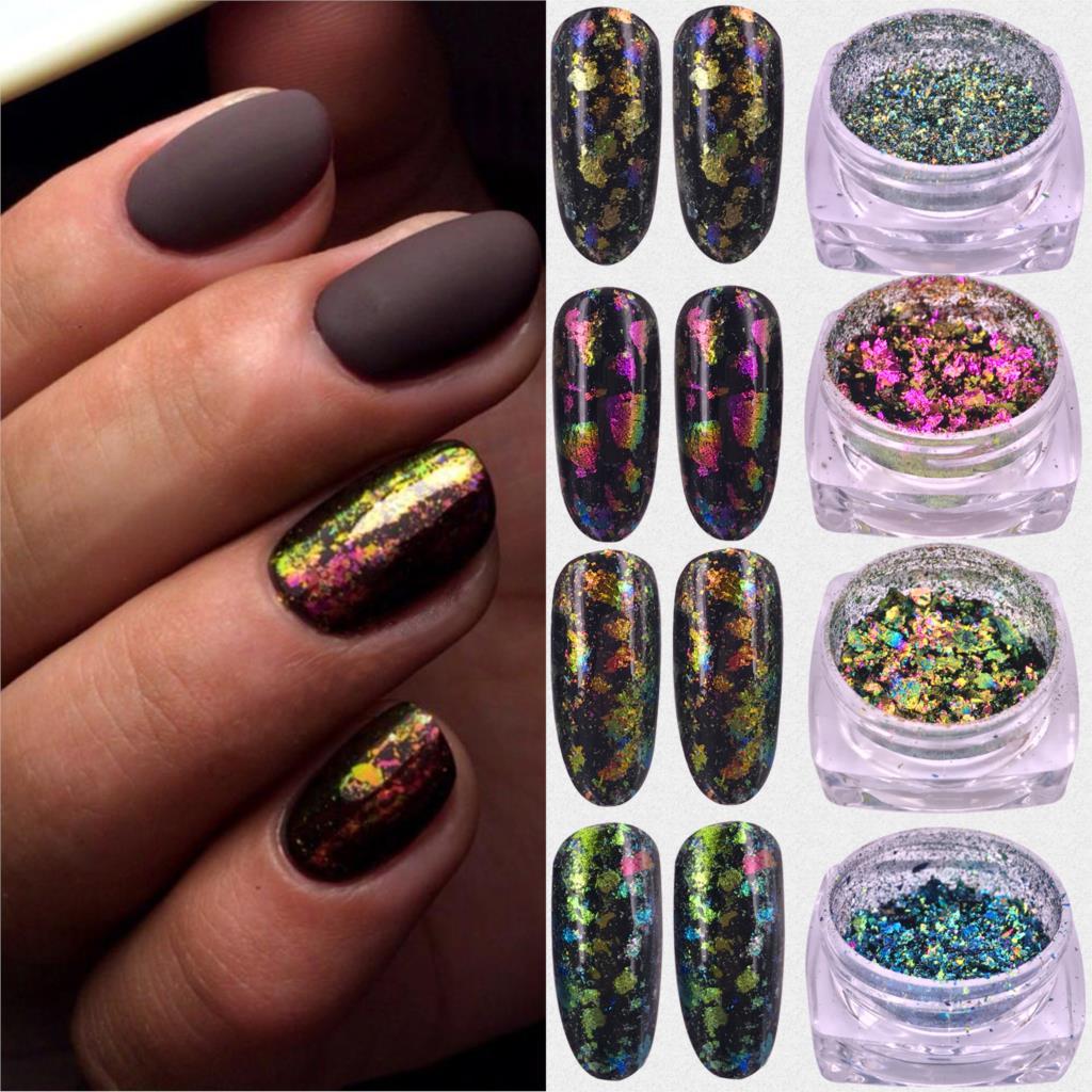 ZKO хамелеон 3D Сделай Сам хлопья Блестки для ногтей порошок пыли зеркальный хромированный пигмент для дизайна ногтей листы украшения|nail glitter powder|glitter powdernail glitter | АлиЭкспресс