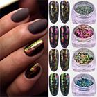 ZKO Chameleon 3D DIY Flakes Sequins Nail Glitter Powder Dust Mirror Chrome Pigment Nail Art Sheets Decorations