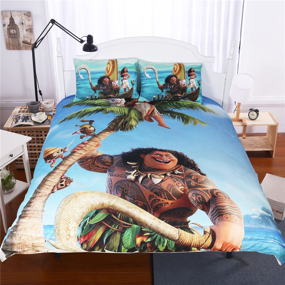 cartoon Moana comforter cover set 3pcs boy girl's room decoration 3d bedding set twin full queen king size bedspreads no filler