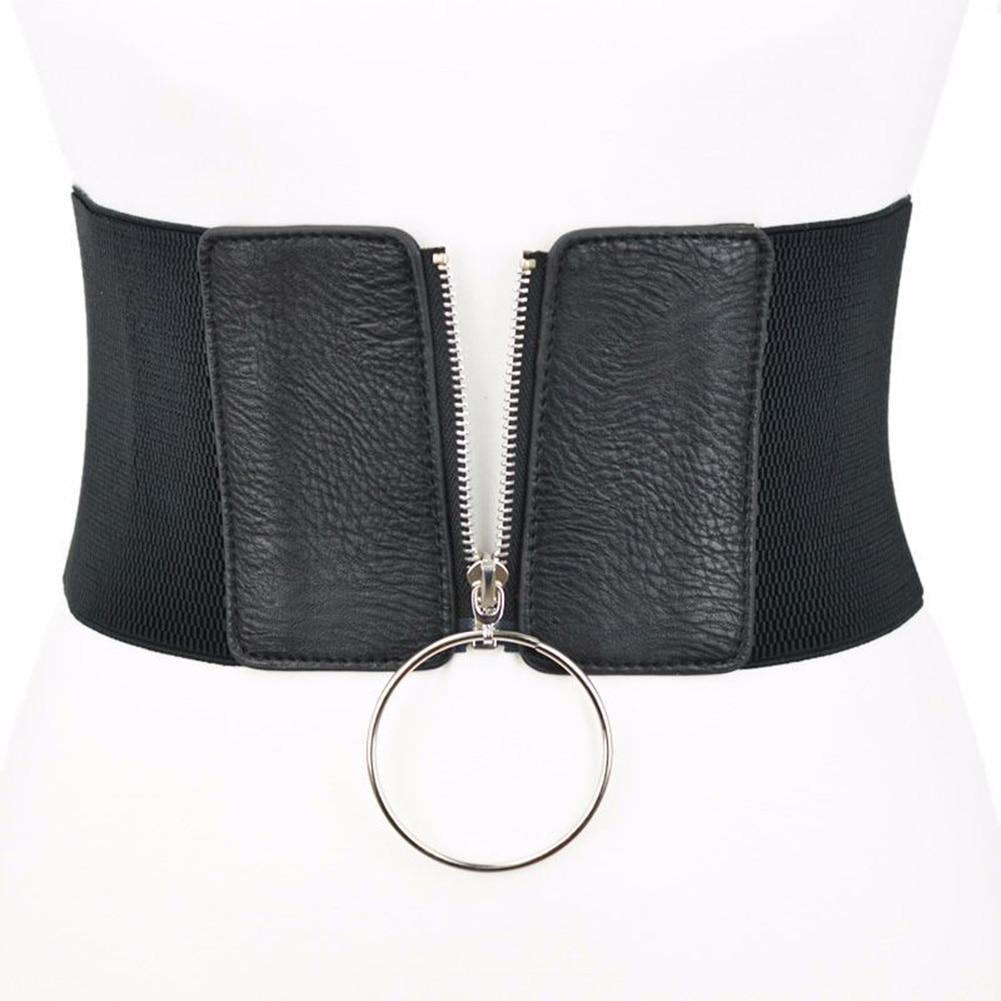 Europe Wide Waist Belt With Big Circle Fashion Female Elastic Zip Wide Belt Decoration Dress Accessories Belt Cummerbunds Waist