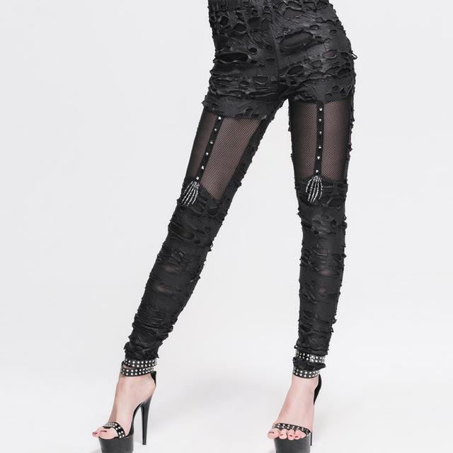 2016 Nueva Llegada Atractiva de La Vendimia Del Remiendo Del Algodón Del Estiramiento Legging Flaco de Las Mujeres Punk Gothic Hacer Viejo Gimnasio Legging