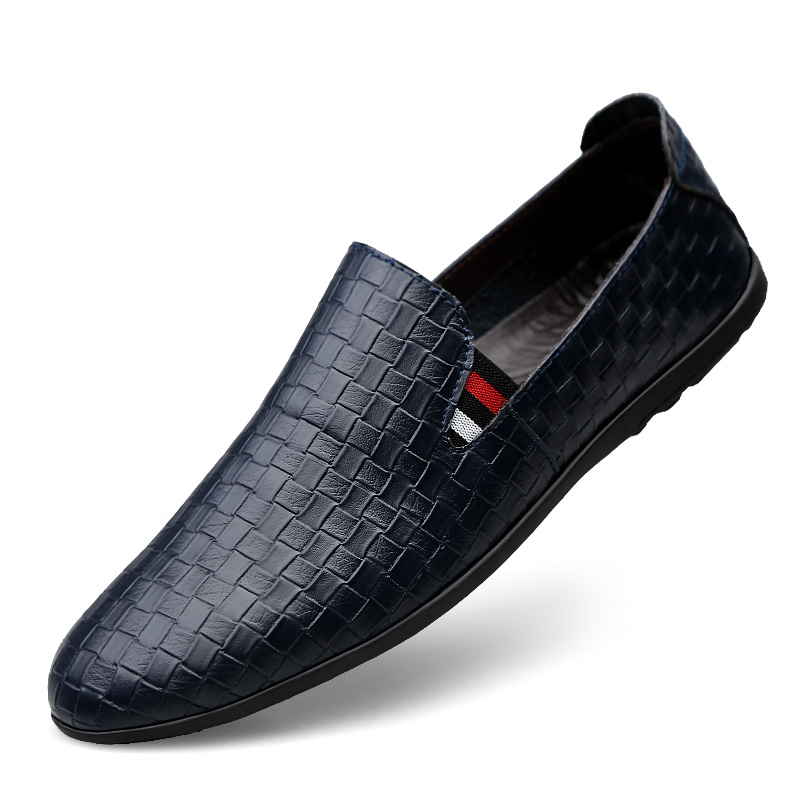 Men Fashion Leather Loafers Black Blue Slip on Lightweight Man Casual Driving Shoes Outdoor Male Soft Spring Autumn Sneakers цены онлайн