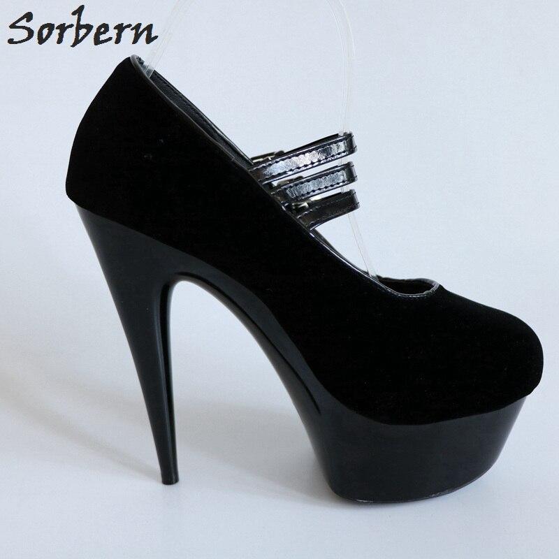 Sorbern/черные вечерние туфли из искусственной замши на высоком каблуке 15 см на платформе черные женские туфли 2018 г. Новые белые женские туфли н... - 5