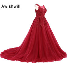 Real Image Long Prom Dress 2019 Modest Robe De Soiree A-line Lace-up Back Appliques Tulle Formal Evening Gowns Party Dress Red