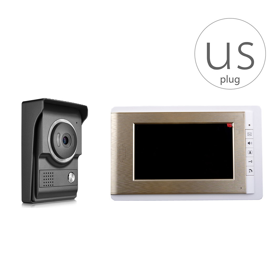 V70C-L+ 7 inch Color Video Door Phone Intercom Monitor HD Camera Doorbell Video Doorbell Infrared Night Vision jeatone 4 inch color screen display monitor picture and video record video door phone intercom hd doorbell camera night vision