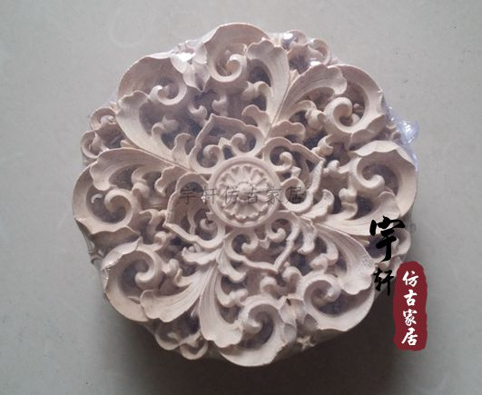 Dongyang wood carving wood applique motif wood shavings corner