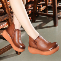 2017 Autumn Women Ankle Boots Yellow Retro Leather Chelsea Boots 6CM High Heel Wedge Shoes Set