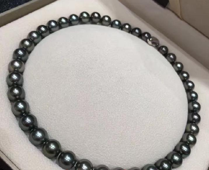 AAAAA 1810-11mm round REAL natural freshwater black pearl necklace 925silver gold claspAAAAA 1810-11mm round REAL natural freshwater black pearl necklace 925silver gold clasp