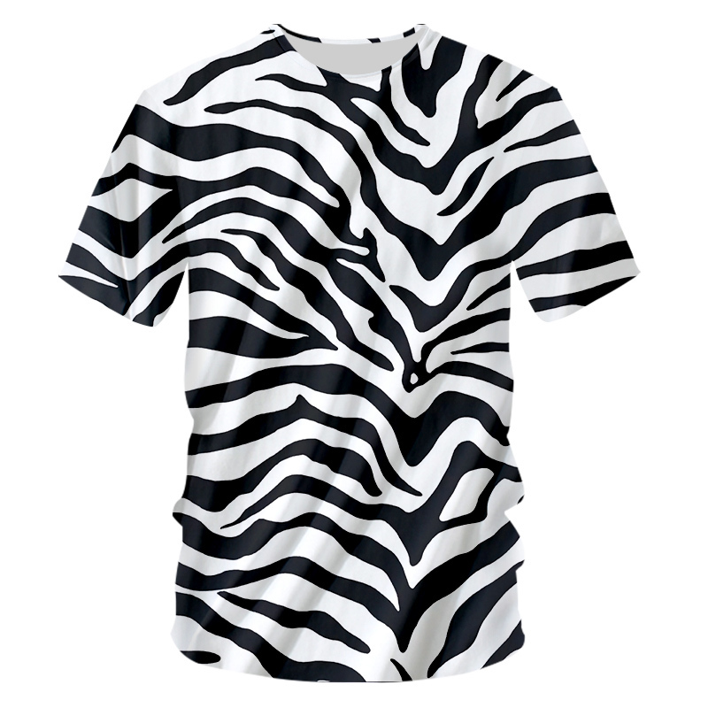 OGKB Tshirt 2018 New Zebra stripes O Neck T-shirt Large size leisure 3D Printing Personality Loose Fitness Workout Tee Shirts