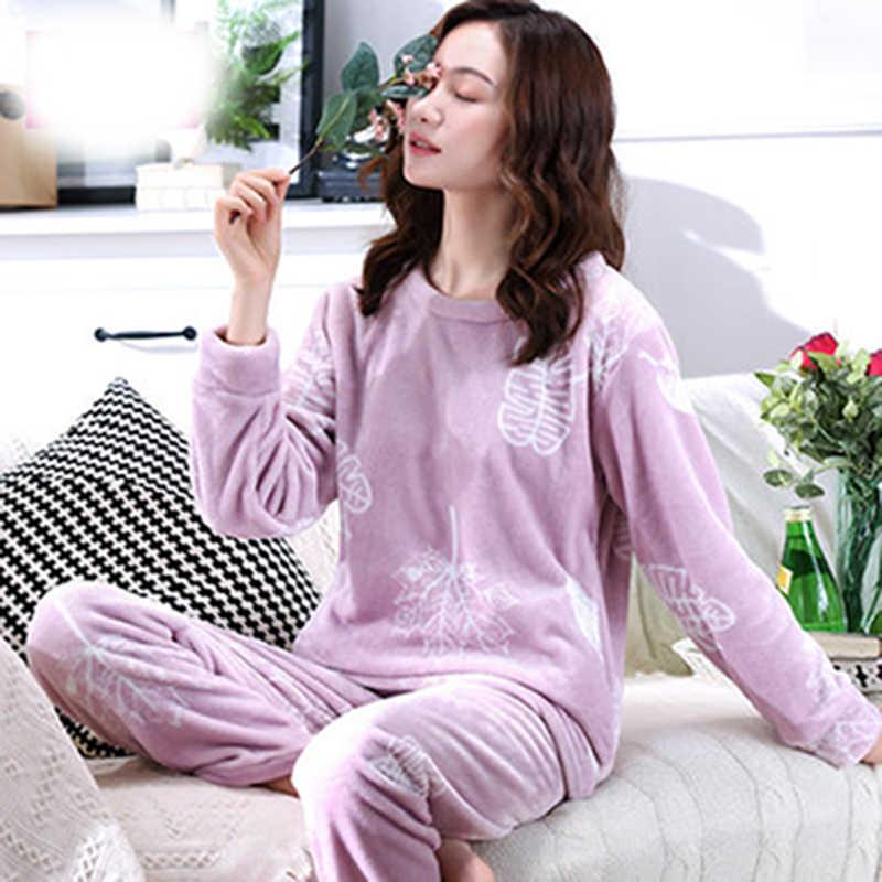 Осень-зима 2019, Женский пижамный комплект, куртка для сна, штаны, одежда для сна, теплая ночная рубашка, женские штаны с мультяшным медведем и животными, одежда для сна