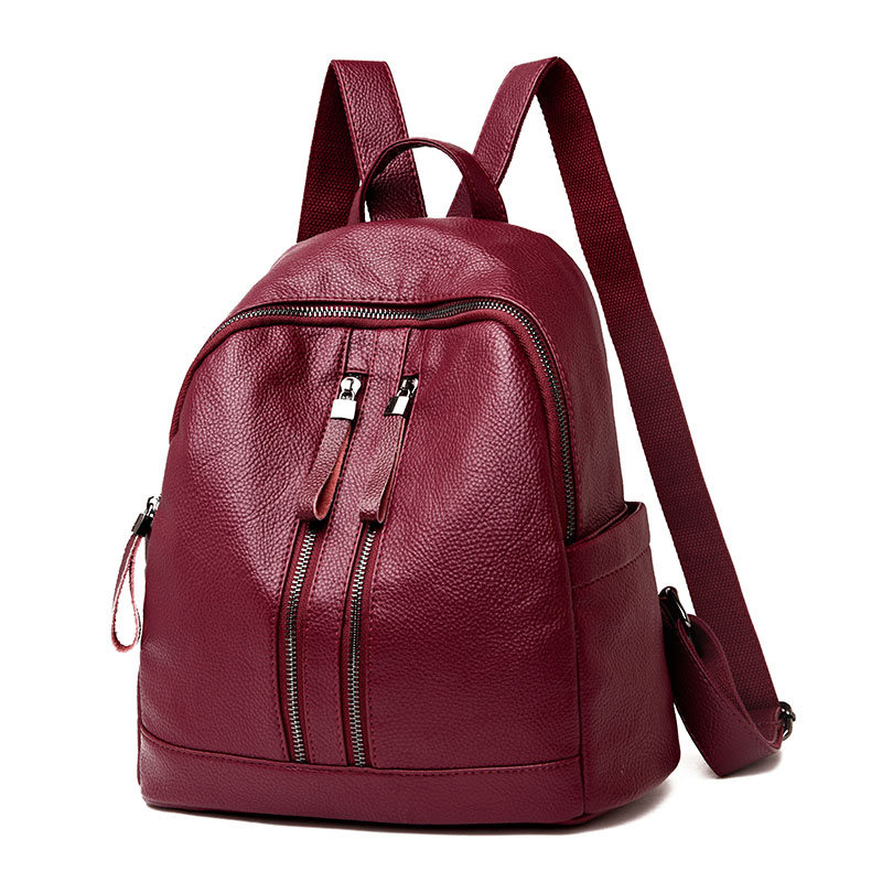 zooler backpack casual 2017 new high quality woman leather backpacks school bag red pots designed backpack mochila d118 High Quality Leather Backpack Woman New Arrival Fashion Female Backpack School Bags Large Capacity School Bag Mochila Feminin