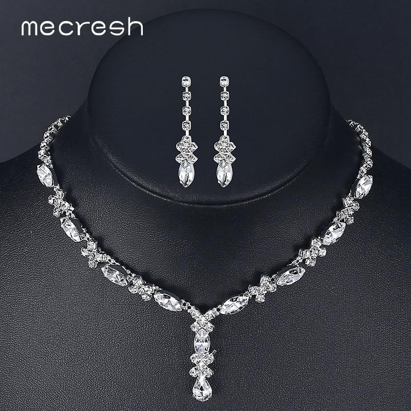 Mecresh Crystal Bridal Jewelry Set For Women Simple Cute Teardrop Rhinestone Choker Necklace Earrings Sets Wedding Jewelry TL002