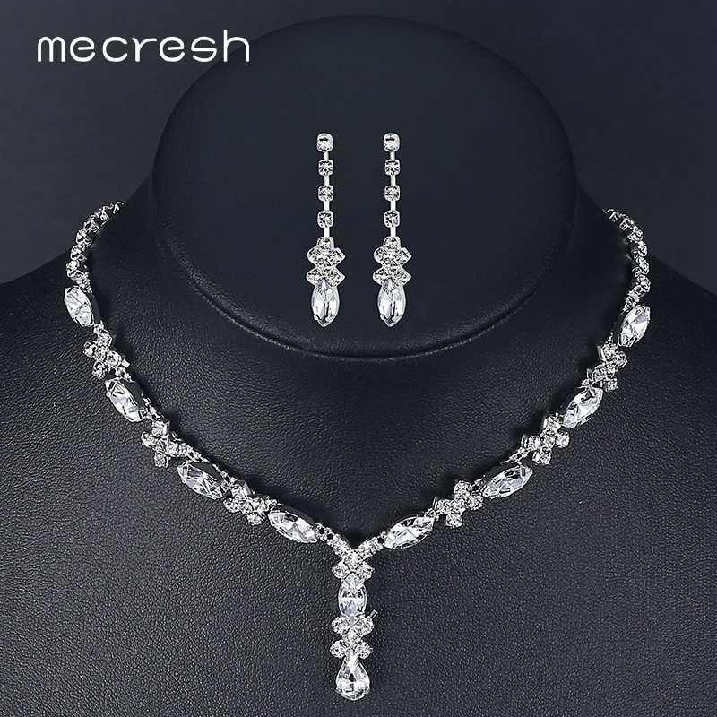 Mecresh Crystal Bridal Jewelry Set for Women Simple Cute Teardrop Rhinestone Choker Necklace Earrings Sets Wedding Jewelry TL002