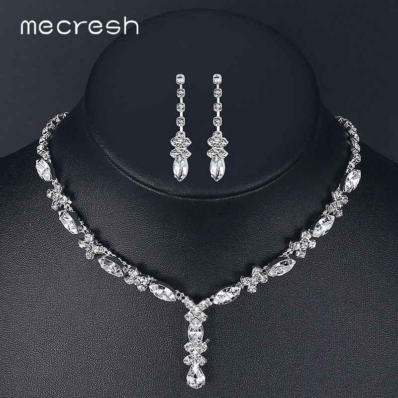 Mecresh Crystal African Jewelry Set For Bride Simple