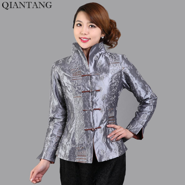 De Gris Veste Chaqueta Dames Chinois Mujeres Traditionnel Style 18wTBxqd