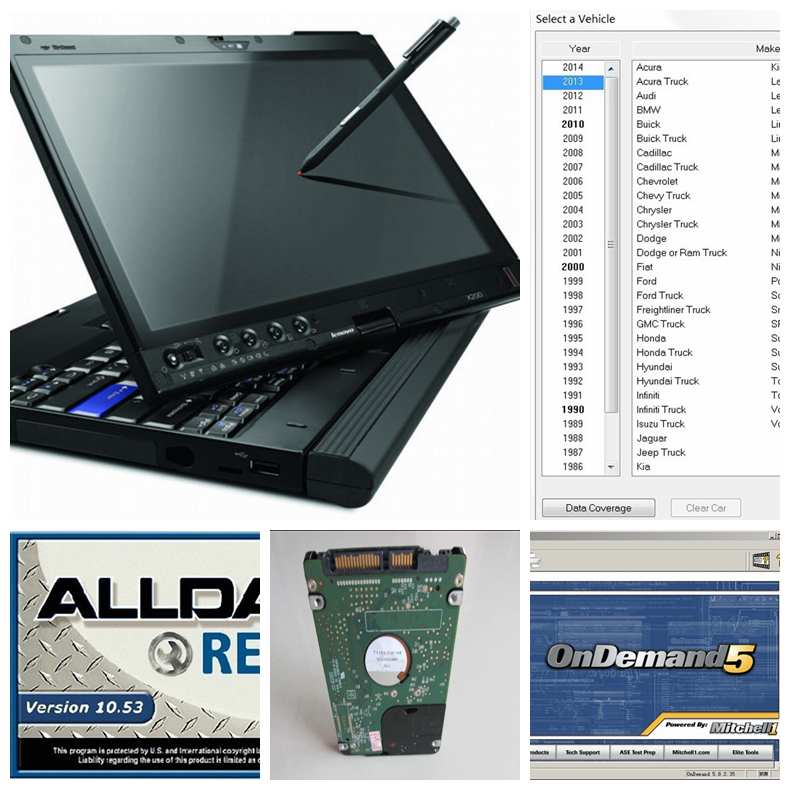 2017 newest alldata and mitchell software installed laptop x200t 4gb ram touch screen with 1tb hdd windows7 auto repair software