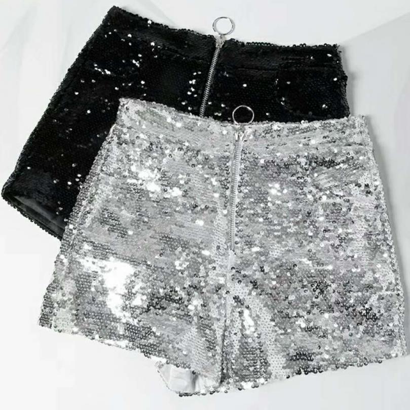 Women Ladies High Waist Sequin   shorts   Beach Casual Female Skinny   Shorts