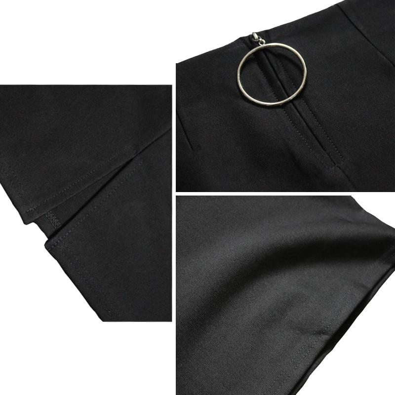 01b5d20e9194d8 CW effen kleur elastische katoen strakke korte hip rok ronde knop rits voor vrouwen  lente en zomer herfst en winter werk doek in CW effen kleur elastische ...