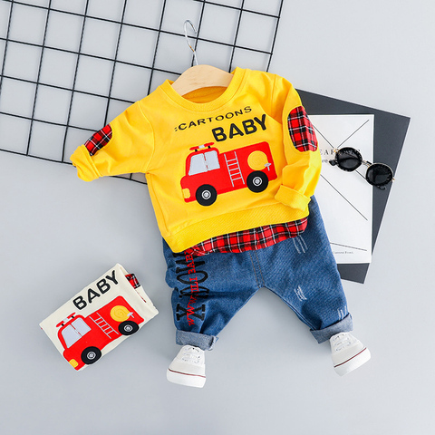 bebe menino dos desenhos animados do carro camiseta jeans roupas definir criancas mais novo primavera