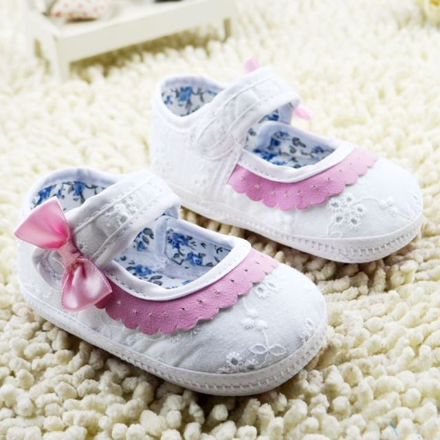 0-18M girl baby first walk shoe pink with white lace bow baby girl newborn shoes floral infantil  shoes