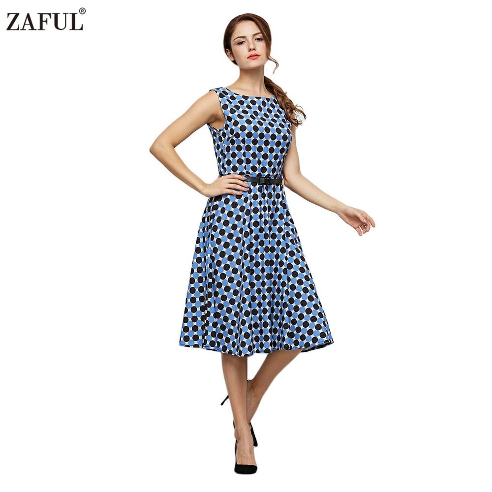 Zaful Women Summer Polka Dot Print Style Vintage Dress Fashion O Neck Sleeveless Midi Feminino