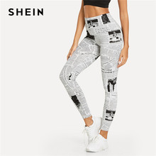 9702308f9e SHEIN Black And White Highstreet Newspaper Letter Print Streetwear Leggings  2018 Summer Women Sexy Casual Trousers